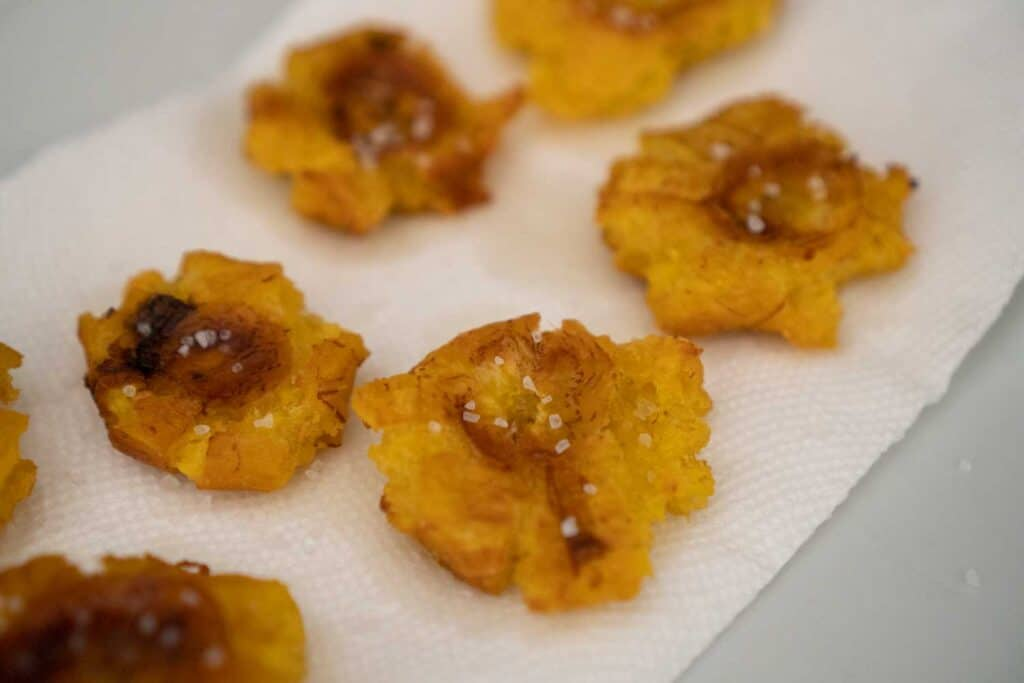 fried plantains on paper towel