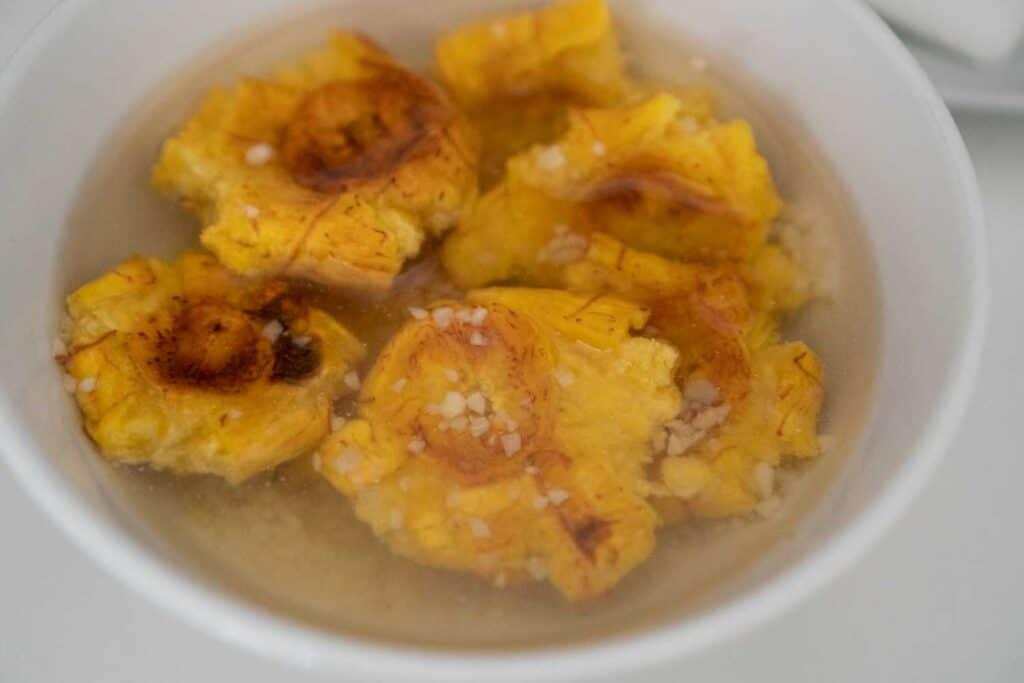 soaking plantains in garlic water