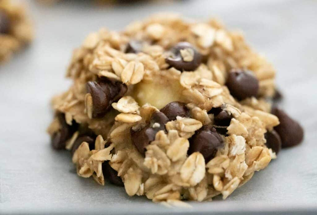 close up of banana oatmeal chocolate chip cookie