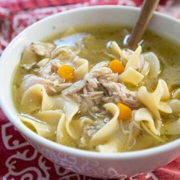 white bowl with chicken noodle soup